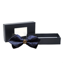 TopTie Men's Pre-tie Double Layers Bow Tie, Tuxedo Neck Bowtie decorated by Gold Metal Crystal with Gift Box