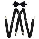 TopTie Men's Elastic Adjustable X-Back Clip Suspenders & Bowtie Set- Perfect for Weddings & Formal Events