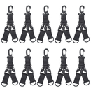 GOGO 10PCS Tactical Gear Keychain Carabiner Nylon Webbing Key Holder Quick Release Buckle with D Rings