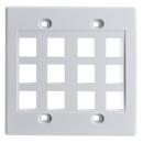 CableWholesale 301-12K-W Keystone Wall Plate, White, 12 Hole, Dual Gang