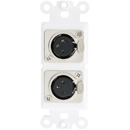 CableWholesale 301-2005 Decora Wall Plate Insert, White, Dual XLR Female to Solder Type