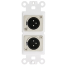 CableWholesale 301-2006 Decora Wall Plate Insert, White, Dual XLR Male to Solder Type