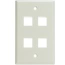 CableWholesale 301-4K-W Keystone Wall Plate, White, 4 Hole, Single Gang