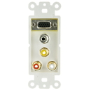 CableWholesale 301-5000 Decora Wall Plate Insert, White, with 1 VGA, 3.5mm Stereo and 3 RCA (Red/White/Yellow) Female Couplers