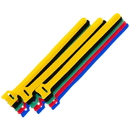 CableWholesale 30CT-10080 Hook and Loop Cable Tie, Assortment 15pcs - 3/each color (Red, Blue, Green, Yellow, Black)