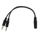 CableWholesale 30S1-35260 3.5mm Stereo Y Cable, 3.5mm Stereo Female to Dual 3.5mm Stereo Male, 6 inch
