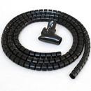 CableWholesale 30SL-02130 5ft Split Loom Cable Wrap, Black, 30mm diameter, Cable Management Wraps with Tool