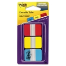 CableWholesale 3401-00118 3M Post-it Durable Tabs, Red, Yellow, Blue, 1 in x 1.5 in, 22/tabs/per color, 3/colors/per/pk