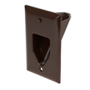 CableWholesale 45-0001-BR 1-Gang Recessed Low Voltage Cable Plate, Brown
