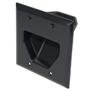 CableWholesale 45-0002-BK 2-Gang Recessed Low Voltage Cable Plate, Black