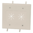 CableWholesale 45-0015-LA Cable Plate with Flexible Opening, 2-Gang, Lite Almond