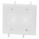 CableWholesale 45-0015-WH Cable Plate with Flexible Opening, 2-Gang, White