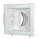 CableWholesale 45-0031-WH Recessed Low Voltage Media Plate w/Duplex Receptacle, White