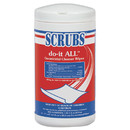 CableWholesale 8303-02502 Scrubs Do-It All Germicidal Cleaner Wipes, Lemon, 7 x 8 inches, White, 75/Container