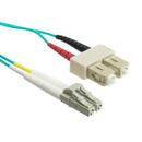 CableWholesale LCSC-31001 10 Gigabit Aqua Fiber Optic Cable, LC / SC, Multimode, Duplex, 50/125, 1 meter (3.3 foot)