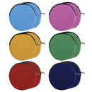 Aspire 12-Pack Round Canvas Coin Purses, 4 Inch Circle Zipper Pouch