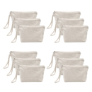 Aspire 12-Pack 100% Cotton Canvas Wristlet Pouch, Cosmetics Travel Zipper Bag with Bottom