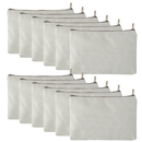 Aspire 12-Pack Canvas Pouches with Zipper, Fabric Bag for DIY, 6 3/4 x 4 3/4 Inches