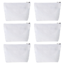 Aspire 6-Pack Canvas Zipper Bags for DIY Project, 7 1/2 by 5 1/8 with 1 1/2 Inches Bottom