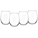 Cathy's Concepts 1110CAC Cactus 21 oz. Stemless Wine Glasses (Set of 4)