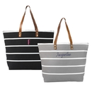 Cathy's Concepts 2166BK Personalized Black Large Striped Tote