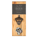 Cathy's Concepts BEER-4170 Open Beer Slate & Acacia Wall Mount Bottle Opener with Magnetic Cap Catcher