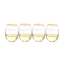 Cathy's Concepts H16-1120G-4 Be Merry 19.25 oz. Gold Rim Stemless Wine Glasses (Set of 4)