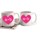 Cathy's Concepts HRT-3900 Personalized Heart of Love Large Coffee Mugs (Set of 2)