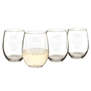 Cathy's Concepts HT16-1110-OW Owl 21 oz. Stemless Wine Glasses (Set of 4)