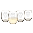 Cathy's Concepts HW16-1110-SS Sugar Skull 21 oz. Stemless Wine Glasses (Set of 4)