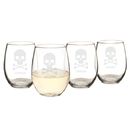 Cathy's Concepts HW16-1110 Personalized Skull + Crossbones 21 oz. Stemless Wine Glasses (Set of 4)