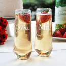 Cathy's Concepts MM1228-2 Mr. & Mrs. Stemless Champagne Flutes