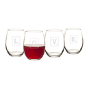 Cathy's Concepts V17-LD1106-4 Love Letter 15 oz. Stemless Wine Glasses (Set of 4)