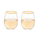 Cathy's Concepts WH1120G-2 Hubby & Wifey 19.25 oz. Gold Rim Stemless Wine Glasses
