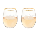 Cathy's Concepts WW1120G-2 Wifey & Wifey 19.25 oz. Gold Rim Stemless Wine Glasses