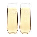 Cathy's Concepts WW1228-2 Wifey & Wifey Stemless Champagne Flutes