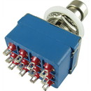 Footswitch - Quad Pole, Double Throw (4PDT), Blue, 12 Pins
