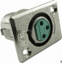 XLR 3-Pin Female Rectangular Panel Mount Receptacle (Type D3F), Switchcraft