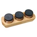 Camden Rose 5610 Cherry Wood 3 Jar Paint Holder with Jars & Lids
