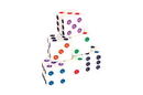 CHH 2500M-WHT 16mm White Dice With Color Dots
