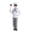TopTie Child White Long Sleeve Chef Coat, Scarf, Hat and Pants Set