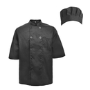 TopTie Unisex Short Sleeve Cooking Chef Coat Jacket with Adjustable Hat