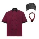 TopTie Unisex Short Sleeve Cooking Chef Coat Jacket & Hat & Bandana Set