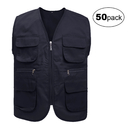 TOPTIE 50 Pcs Supermarket Volunteer Activity Vest, Multi-pocket Fishing Vest