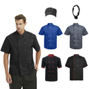 TOPTIE 5 Pack Assorted Color Unisex Short Sleeve Chef Coat With Bandana & Hat