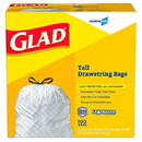 Glad 78526 Kitchen Drawstring Trash Bag 13 Gallon, White/Black, Tall, Regular, (100 per Box, 4 per Case)