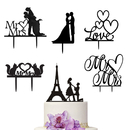 Aspire 6 Pcs Acrylic Wedding Cake Topper Decoration Party Supplies for Birthday Cake Favor