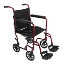 ProBasics Burgundy Aluminum Transport Chair with Footrests