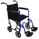 Aluminum Transport Chair w/ Footrests Blue