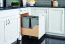 Rev-A-Shelf 4WCSC-2135DM-2 Double 35 Qt. Wood Bottom Mount Waste Container Kit w/ Blum